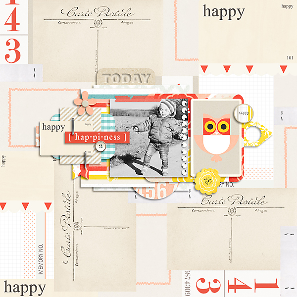 Happy digital scrapbook layout by TwoTinyTurtles using Pure Happiness by Sahlin Studio