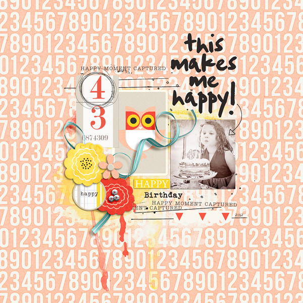 Happy digital scrapbook layout by Jenn-Barrette using Pure Happiness by Sahlin Studio
