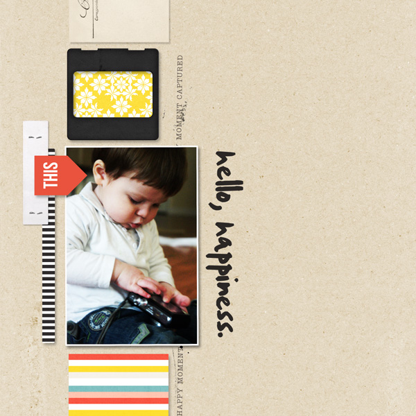 Hello Happiness digital scrapbook layout by MlleTerraMoka using Pure Happiness by Sahlin Studio