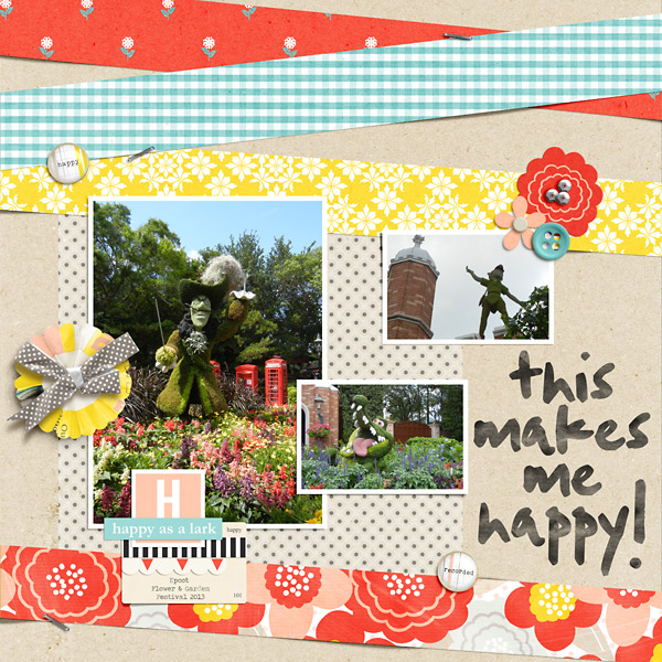 Happy digital scrapbook layout by PuSticks using Pure Happiness by Sahlin Studio