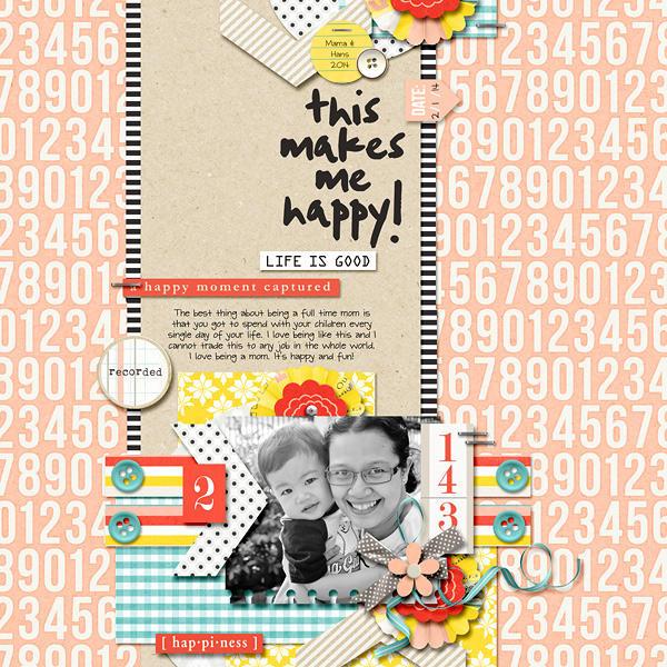 Happy digitial scrapbook layout by dianeskie using Pure Happiness by Sahlin Studio