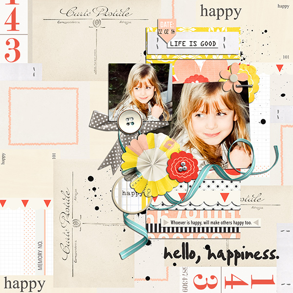 Hello Happiness digital scrapbook layout by louso using Pure Happiness by Sahlin Studio