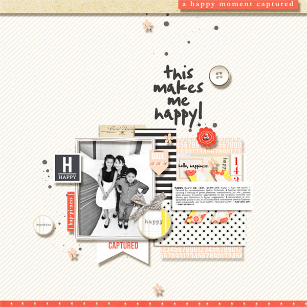 Happy digital scrapbook layout using Pure Happiness by Sahlin Studio