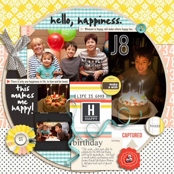 Hello Happiness digital scrapbook layout by mikinenn using Pure Happiness by Sahlin Studio
