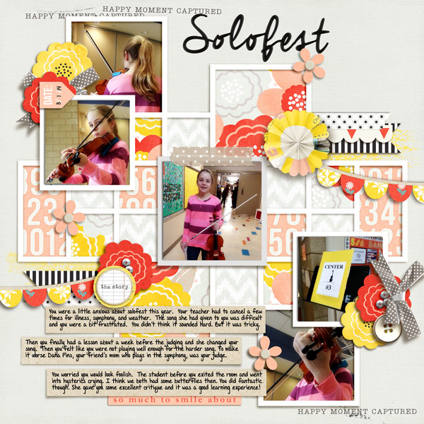 Happy Moment digital scrapbook layout using Pure Happiness by Sahlin Studio