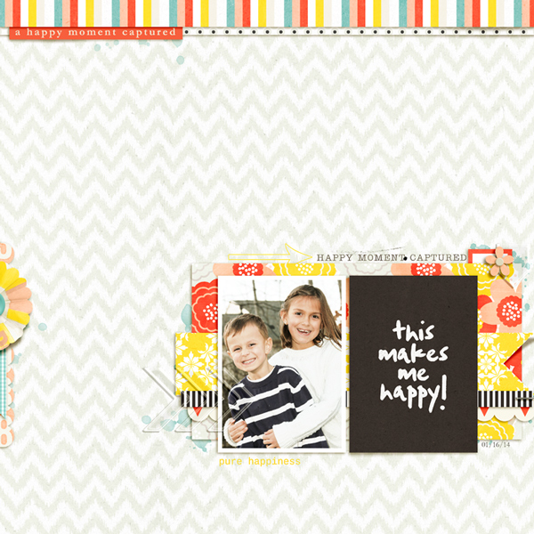 Happy digital scrapbook layout by rlma using Pure Happiness by Sahlin Studio