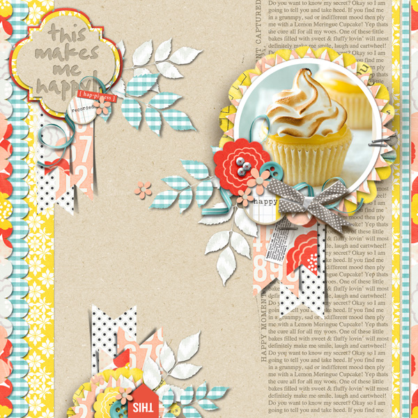 Cupcake Happiness digital scrapbook layout using Pure Happiness by Sahlin Studio