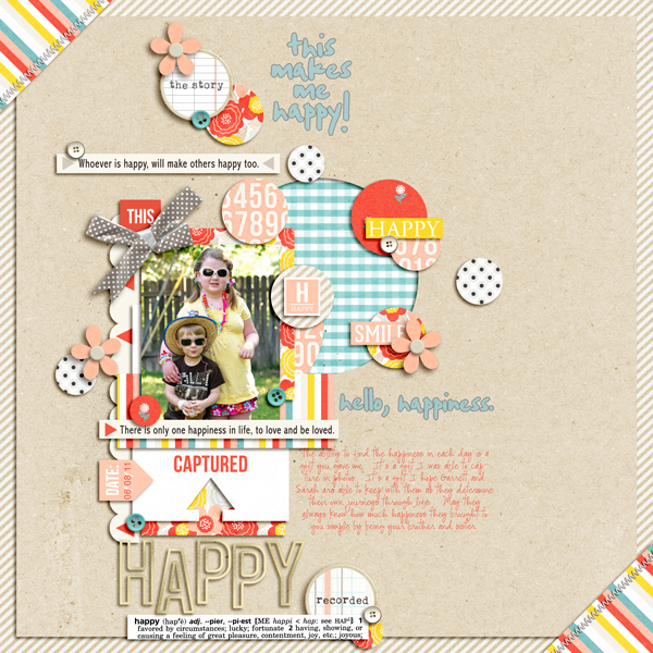 Hello Happiness digital scrapbook layout by pne123 using Pure Happiness by Sahlin Studio
