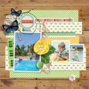 SUMMER Beach Digital scrapbook page by dul, using Year of Templates 13 by Sahlin Studio
