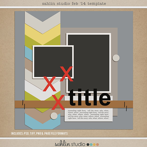 FREE Digital Scrapbooking Template by Sahlin Studio – Feb 2014