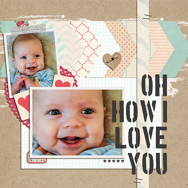 Oh how i love you digital layout by kv2av using Stamped Sentiments Digital Word Art No. 2: Love by Sahlin Studio