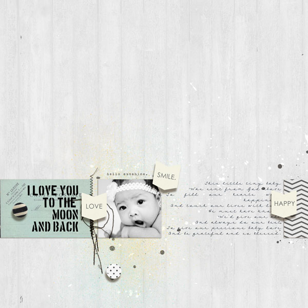 I Love You To The Moon and Back digital layout by margelz using Stamped Sentiments Digital Word Art No. 2: Love by Sahlin Studio