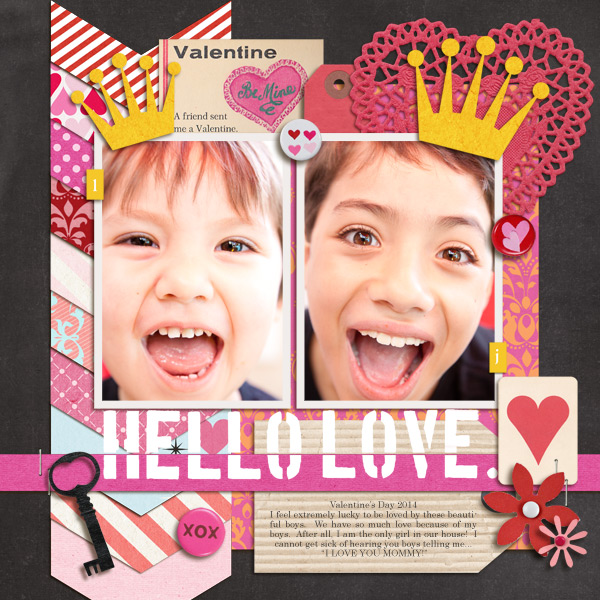 Hello Love digital layout by mikinenn using Stamped Sentiments Digital Word Art No. 2: Love by Sahlin Studio