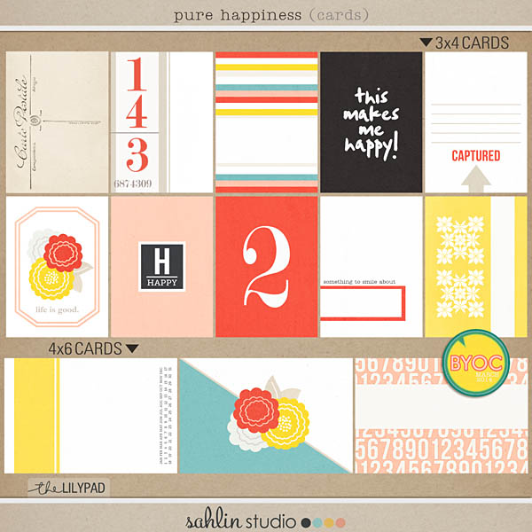 Pure Happiness (Journal Cards) by Sahlin Studio - Perfect for Digital, Project Life or Pocket Page Scrapbooking