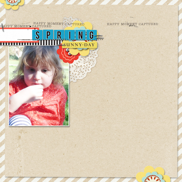 Spring digital scrapbook layout by MlleTerraMoka using Anagram Letter Tile Alpha 2 by Sahlin Studio