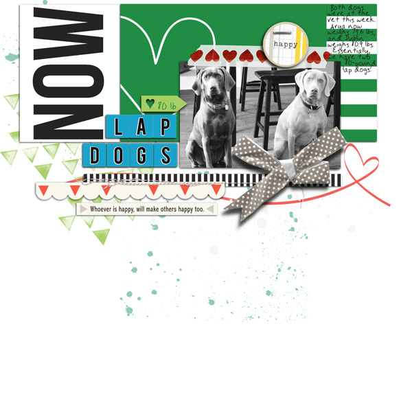 Doggy Love digital scrapbook layout by RebeccaH using Anagram Letter Tile Alpha 2 by Sahlin Studio