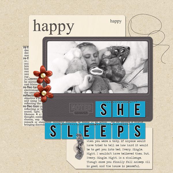 Sleeping digital scrapbook layout by ctmm4 using Anagram Letter Tile Alpha 2 by Sahlin Studio