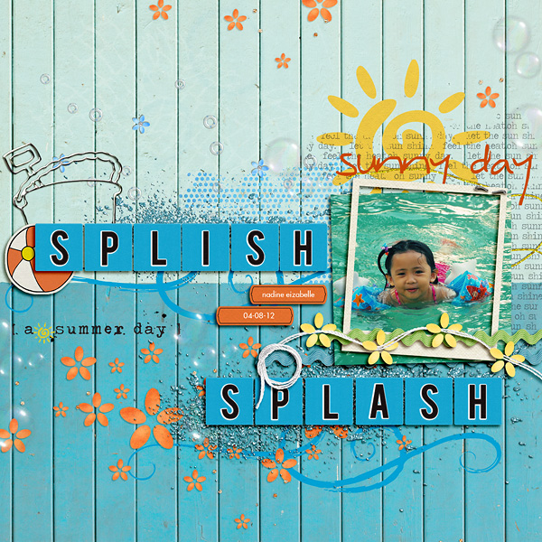Summer Splash digital scrapbook layout by dianeskie using Anagram Letter Tile Alpha 2 by Sahlin Studio