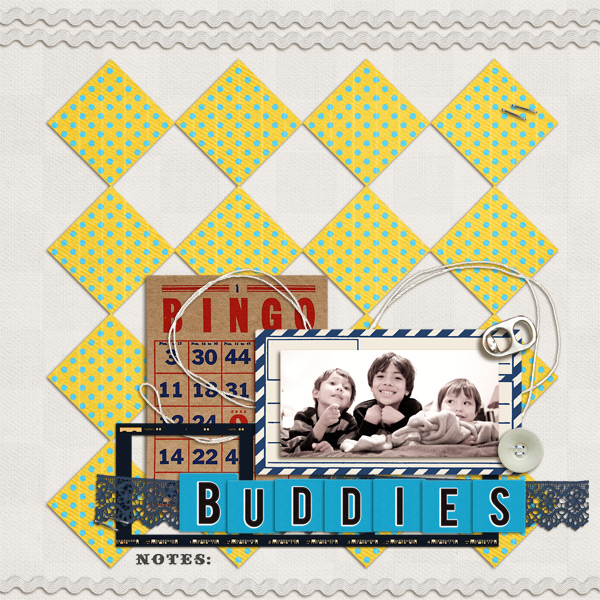 BUDDIES digital scrapbook layout by mikinenn using Anagram Letter Tile Alpha 2 by Sahlin Studio