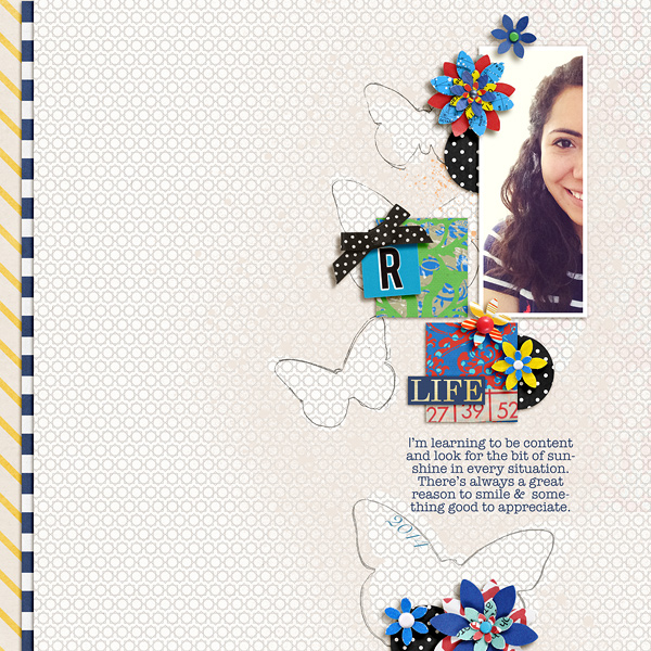 About Me digital scrapbook layout by raquels using Anagram Letter Tile Alpha 2 by Sahlin Studio