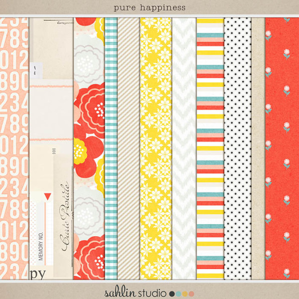 Pure Happiness (Paper Pack) by Sahlin Studio - Digital Papers