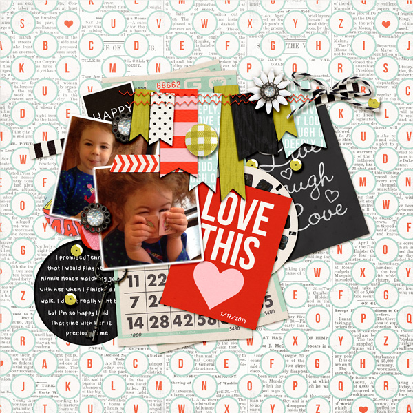 digital scrapbook layout created by dailydwelling featuring melon sorbet by sahlin studio