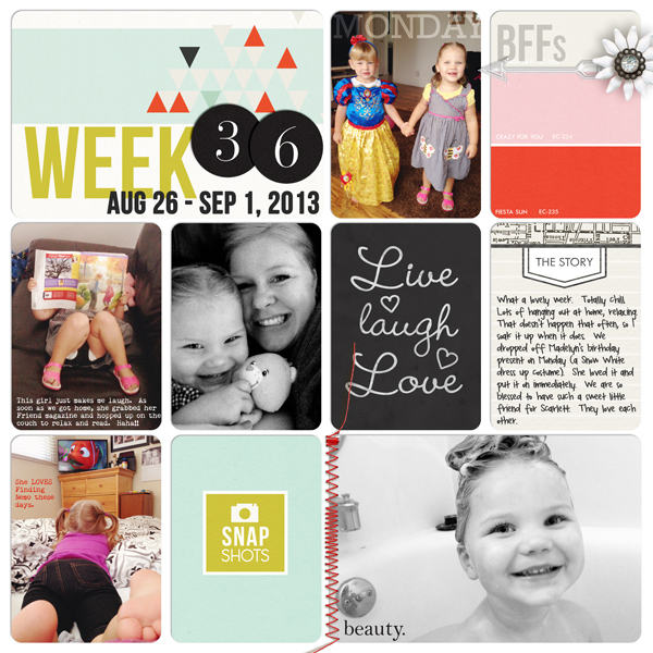 project life digital scrapbook page created by designerbrittney featuring melon sorbet by sahlin studio