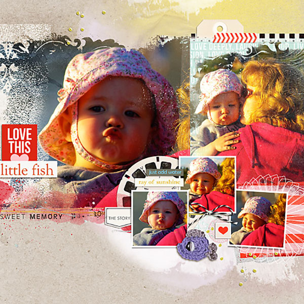digital scrapbook layout created by Heather Prins featuring melon sorbet by sahlin studio