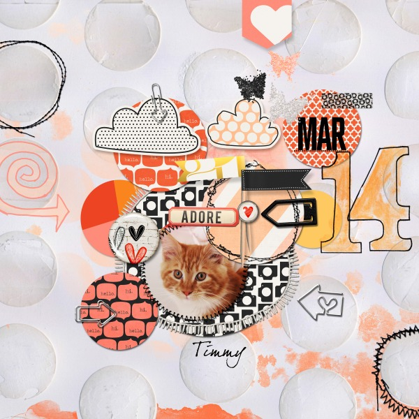 Kitty Cat Digital Scrapbook page by Hanazana featuring Digital Arrow Paper Clips by Sahlin Studio