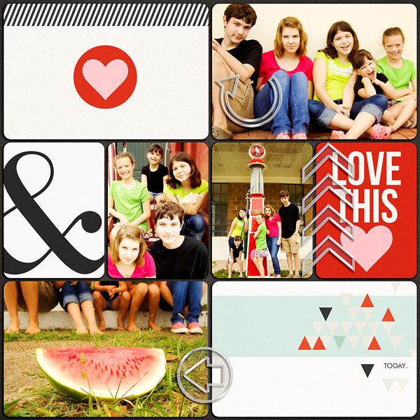 Project Life page created by MissKim featuring Melon Sorbet by Sahlin Studio