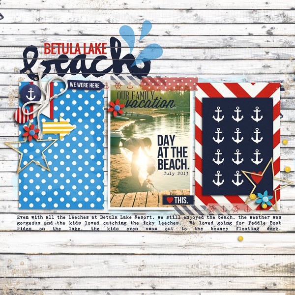 Beach Digital Scrapbook Page by Jenn Barrette using Project Mouse (At Sea): Bundle by Britt-ish Designs & Sahlin Studio