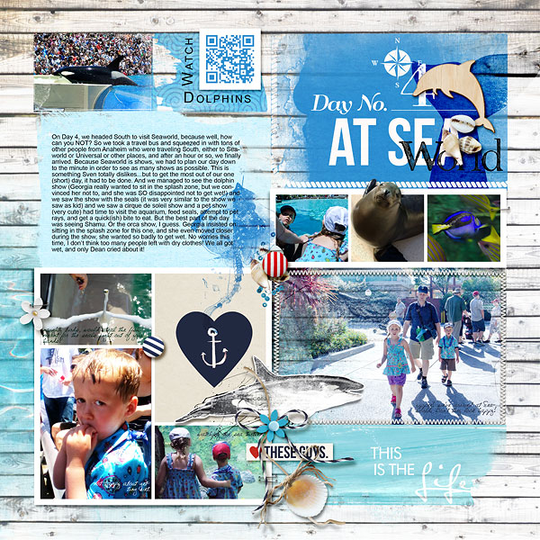 Sea World Digital Project Life left page by amberr featuring Project Mouse (At Sea): Bundle by Britt-ish Designs and Sahlin Studio