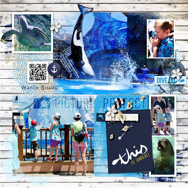 Sea World Digital Project Life right page by amberr featuring Project Mouse (At Sea): Bundle by Britt-ish Designs and Sahlin Studio