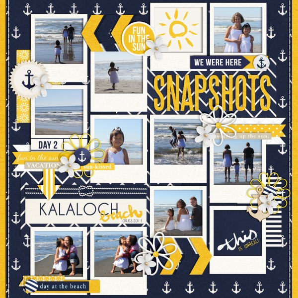 Beach Digital Scrapbook Page by fonnetta using Project Mouse (At Sea): Bundle by Britt-ish Designs & Sahlin Studio