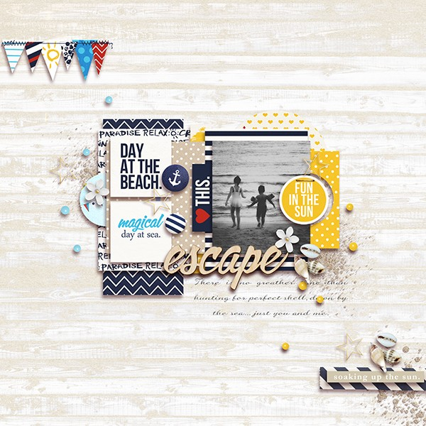 Ocean / Sea Digital Scrapbook Page by margelz using Project Mouse (At Sea): Bundle by Britt-ish Designs & Sahlin Studio
