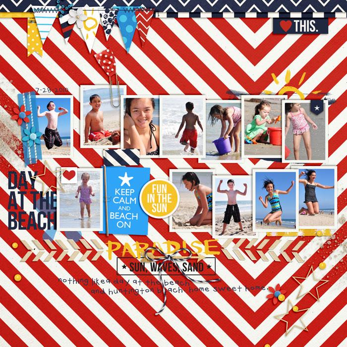 Ocean / Sea Digital Scrapbook Page by neeceebee using Project Mouse (At Sea): Bundle by Britt-ish Designs & Sahlin Studio