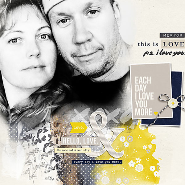 This Is Love Digital Scrapbook Page by HeatherPrins using P.S. I Love You (Kit) by Sahlin Studio