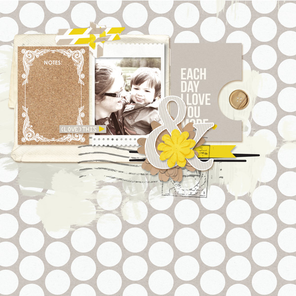 Love You Digital Scrapbook Page by MlleTerraMoka using P.S. I Love You (Kit) by Sahlin Studio
