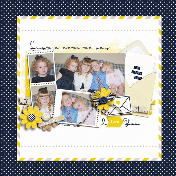 Just A Note Digital Scrapbook Page by becca1976 using P.S. I Love You (Kit) by Sahlin Studio