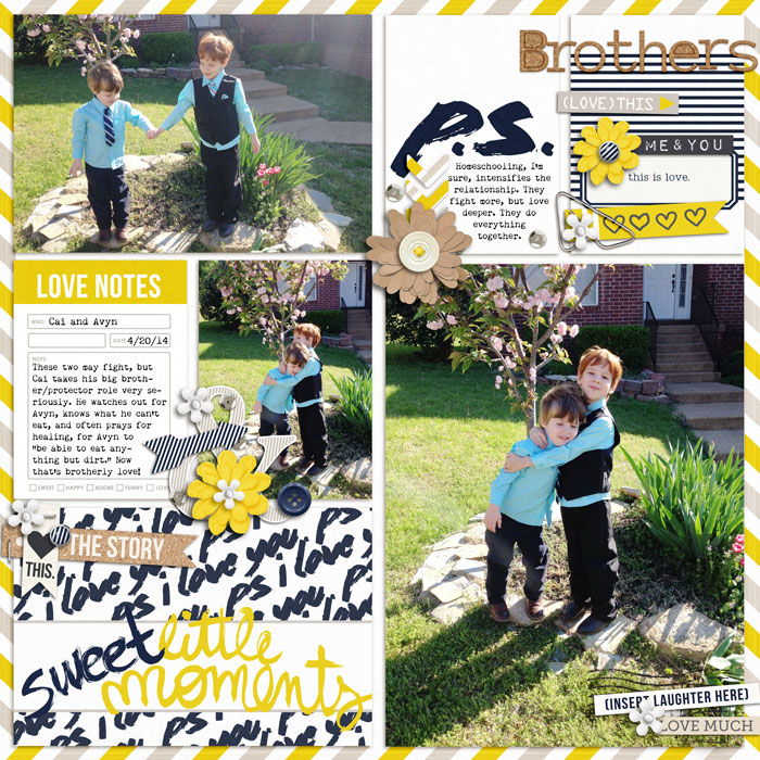 Brothers Digital Scrapbook Page by editorialdragon using P.S. I Love You (Kit) by Sahlin Studio