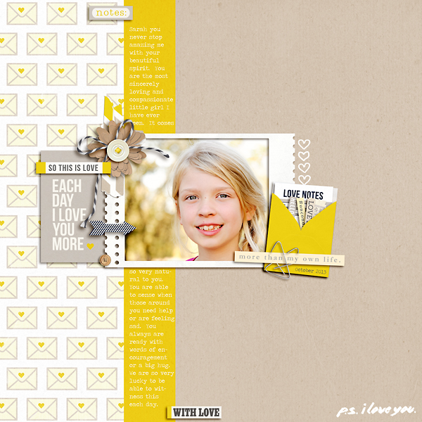With Love Digital Scrapbook Page by pne123 using P.S. I Love You (Kit) by Sahlin Studio