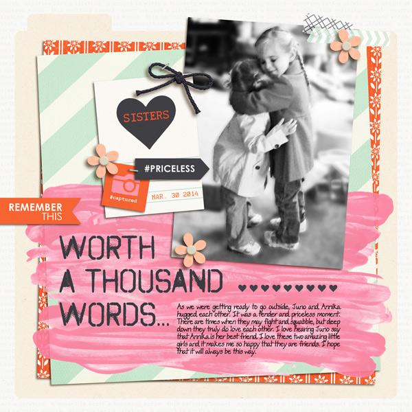 Hug Digital Scrapbooking Layout by yzerbear19 using Worth A Thousand Words by Sahlin Studio
