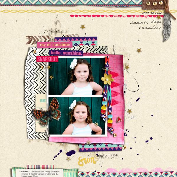 digital scrapbooking layout created by Jenn Barrette featuring Aztec Summer by Sahlin Studio