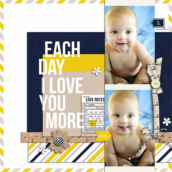 Baby Digital Scrapbook Page by kv2av using P.S. I Love You (Kit) by Sahlin Studio
