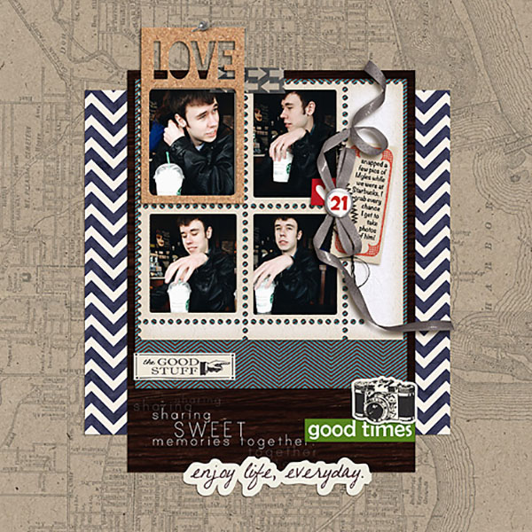 digital scrapbooking layout created by Heather Prins featuring the June 2014 FREE Template by Sahlin Studio