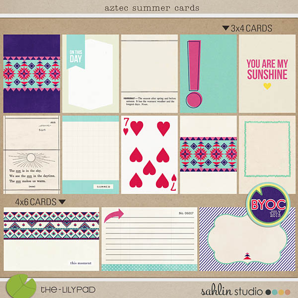 Aztec Summer Journal Cards by Sahlin Studio