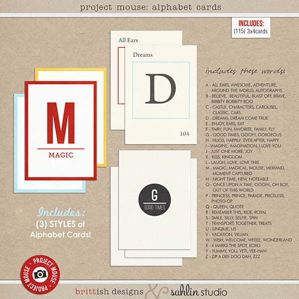 Project Mouse: Alphabet Cards by Britt-ish Designs and Sahlin Studio - (3) THREE Separate Journal Card sets