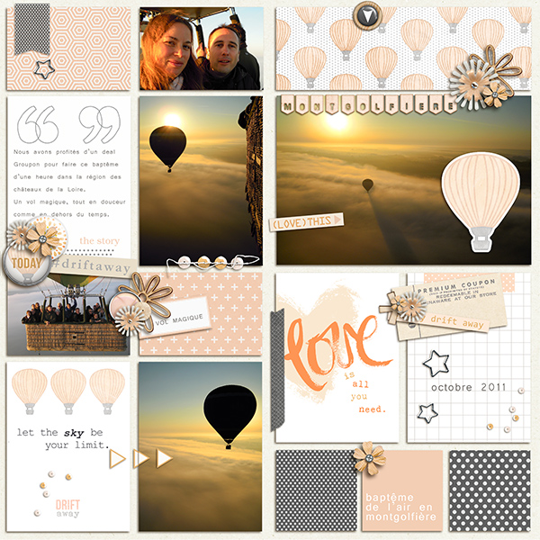Hot Air Balloon Digital Scrapbook Project Life page by Arumrose using Drift Away Kit by Sahlin Studio