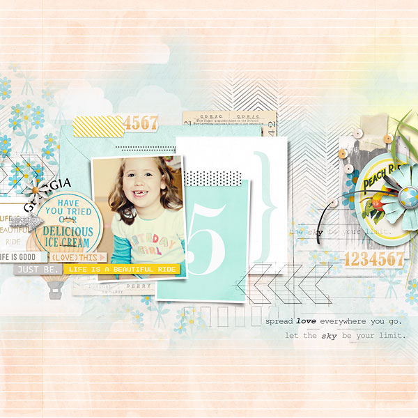 Pretty Girl Digital Scrapbook Page by amberr using Drift Away  by Sahlin Studio