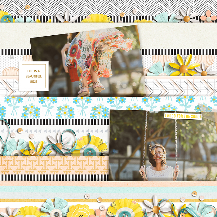 Lift is a Beautiful Ride  Digital Scrapbook Page by juhh using Drift Away  by Sahlin Studio